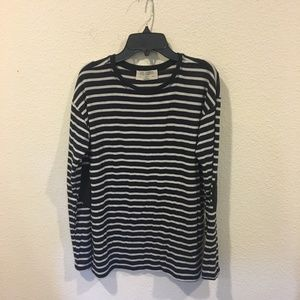 Zara navy and white striped top